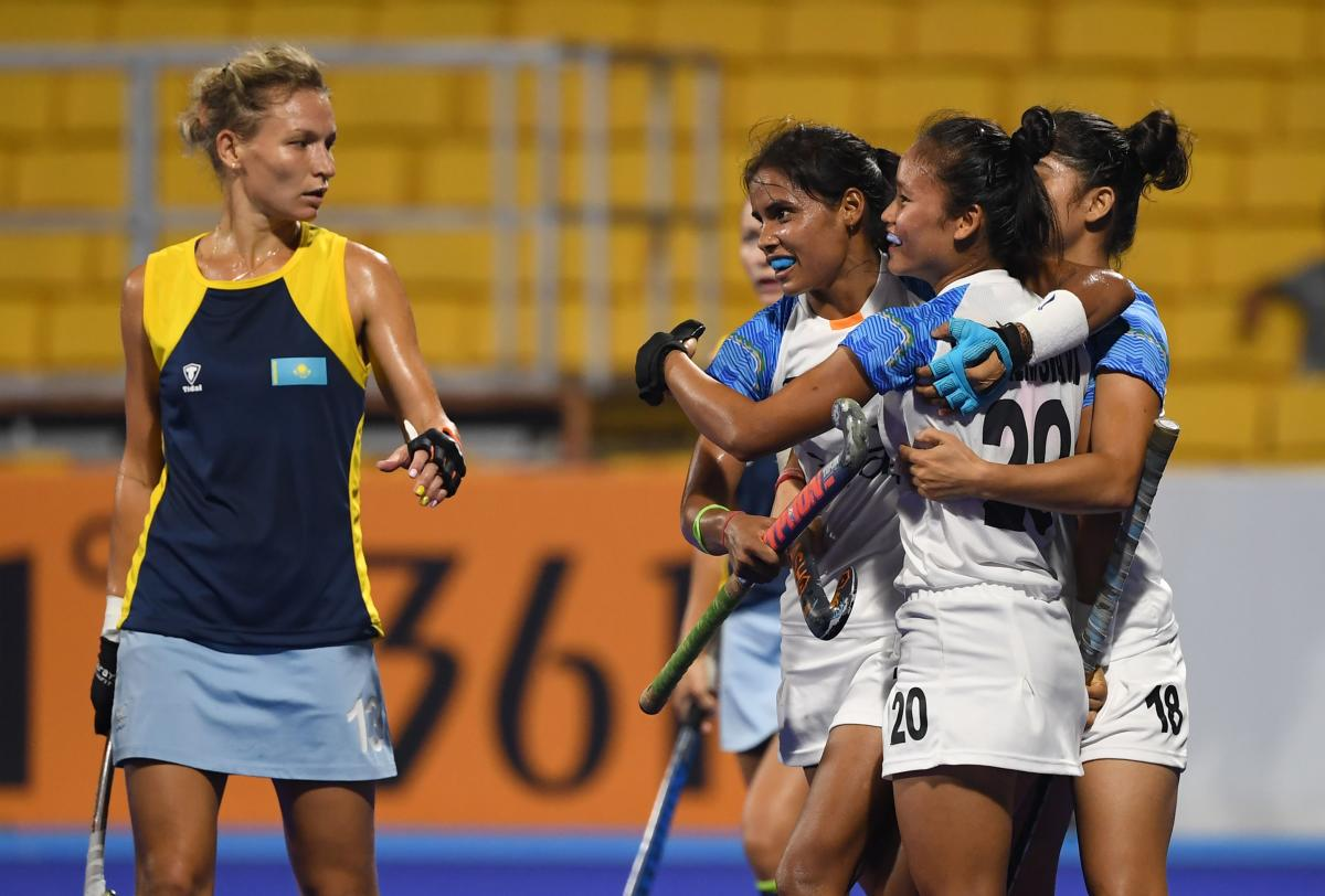 Indian players celebrate after scoring against Kazakhstan in their pool B match at the Asian Games in Jakarta on Tuesday. AFP