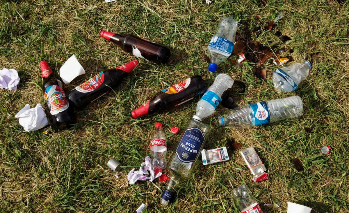 A day after a cultural event organised by the Gorkhali Helping Trust, liquor bottles, cigarette packets and trash seen littered at the Central College Ground on Wednesday.
