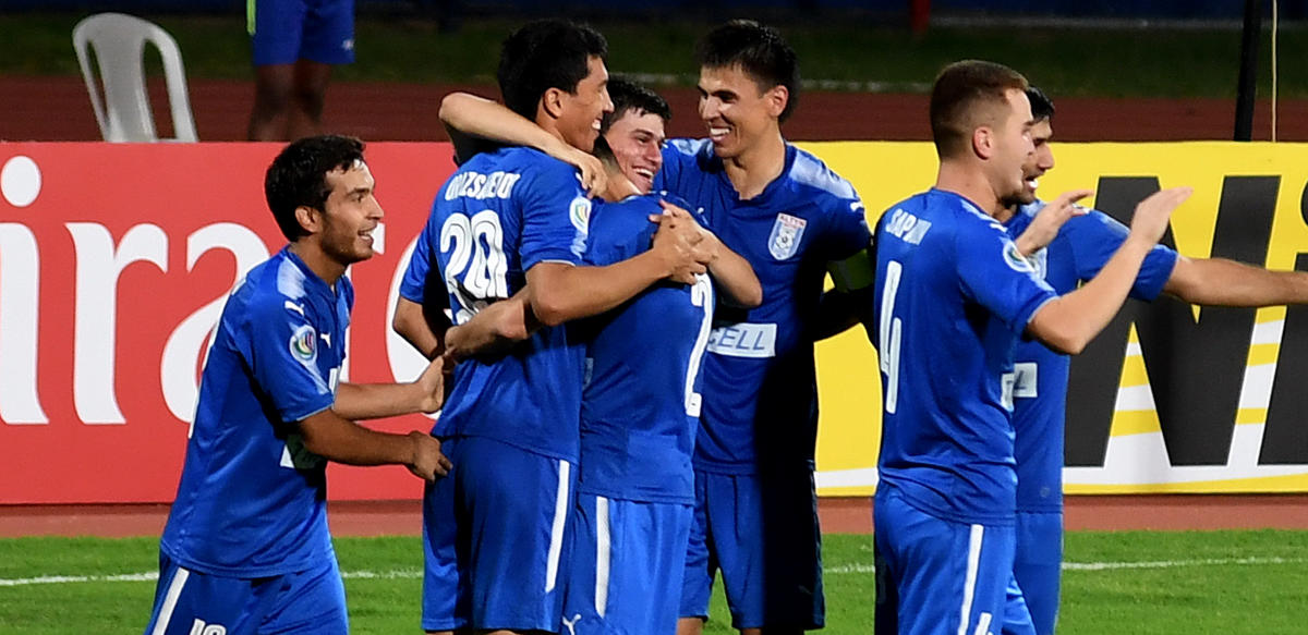 DELIGHTED Altyn Asyr's Vahyt Orazsahedov (second from left) celebrates with team-mates after scoring. DH PHOTO/SRIKANTA SHARMA R