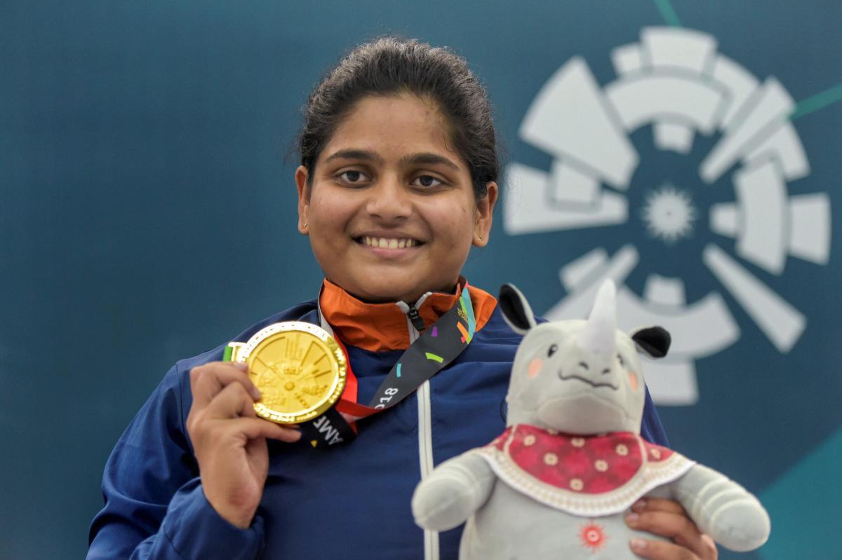 Shooter Rahi Sarnobat with her gold medal at Palembang, Indonesia on Wednesday.PTI