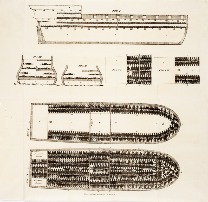 Diagram of a large slave ship. Thomas Clarkson: The cries of Africa to the inhabitants of Europe, 1822. Source: Wikipedia.