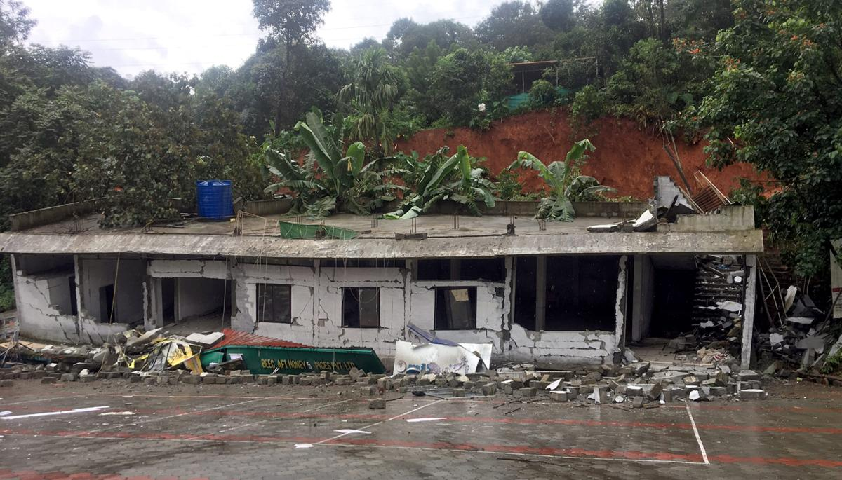 A building damaged after landslide at Vithiri in Wayanad on August 10, 2018. PTI