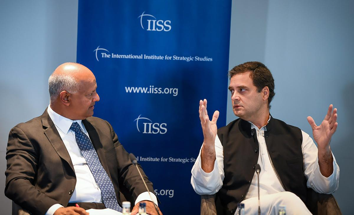 Congress president Rahul Gandhi in a panel at International Institute for Strategic Studies (IISS), in London on Friday. AICC Photo via PTI
