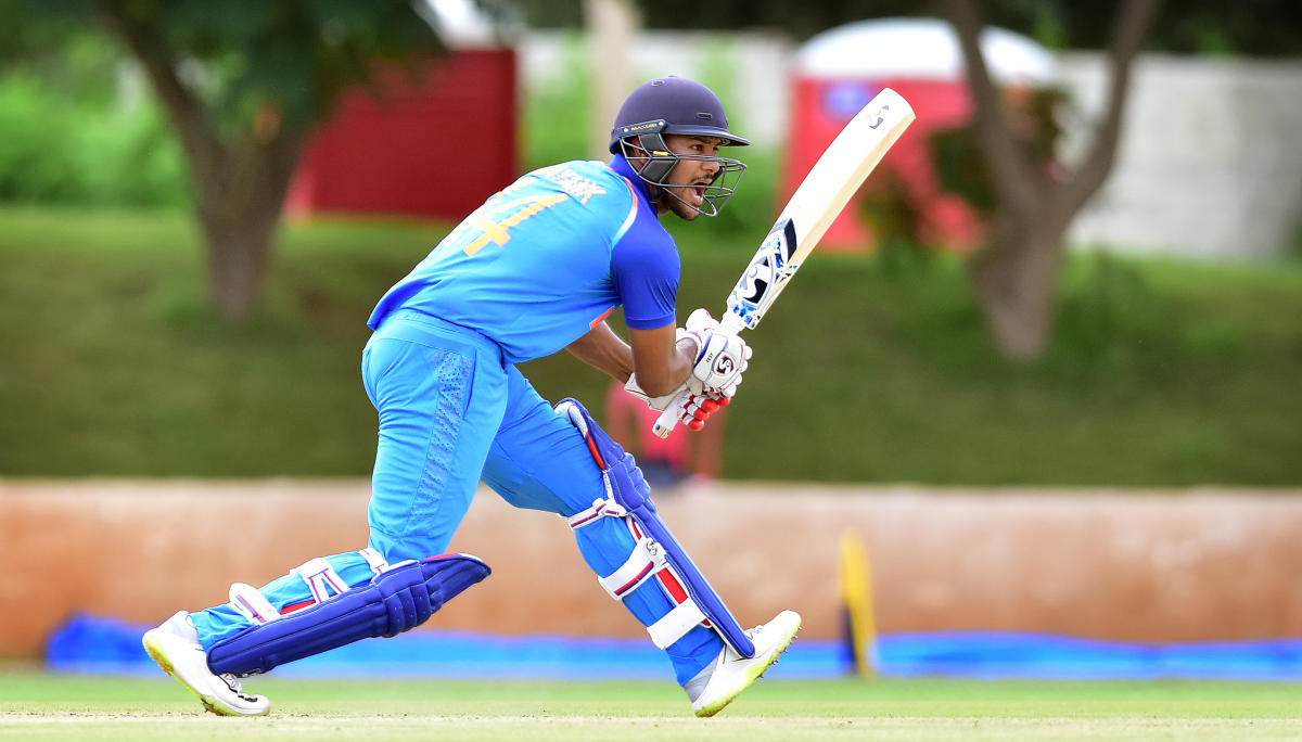 PROLIFIC Mayank Agarwal of India 'B' drives one to the fence en route his century against India 'A' at Alur grounds in Bengaluru on Saturday. DH PHOTO/ RANJU P