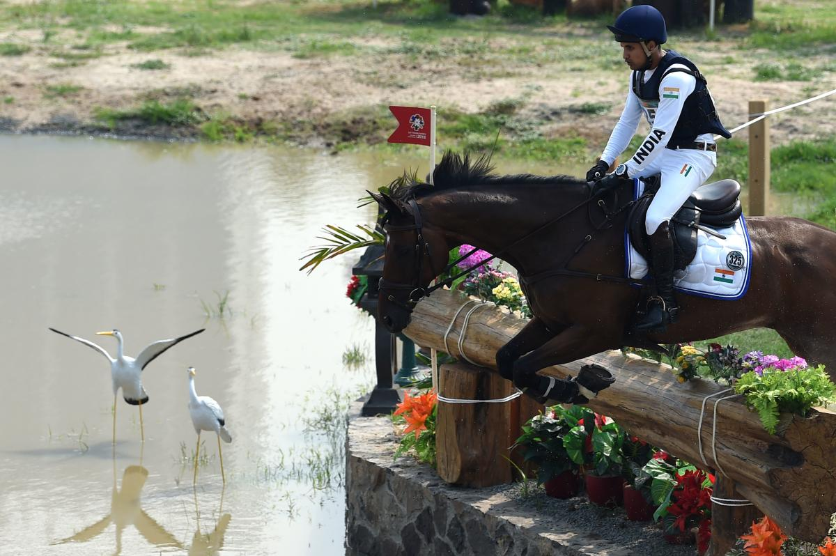 Fouaad Mirza competes in the eventing team and individual cross country event at the equestrian competitions at the Asian Games in Jakarta on Sunday. AFP