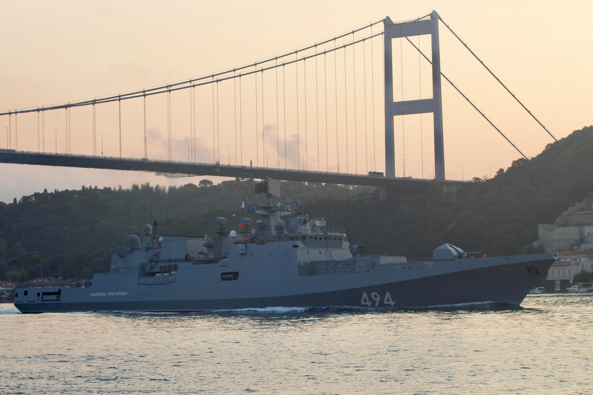 The Russian Navy's frigate Admiral Grigorovich sails in the Bosphorus, on its way to the Mediterranean Sea, in Istanbul, Turkey on August 25, 2018. Reuters