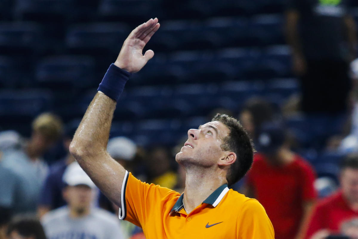 Juan Martin del Potro of Argentina celebrates after defeating Donald Young (out of frame) of US during their 2018 US Open men's Singles match at the USTA Billie Jean King National Tennis Center in New York on August 27, 2018. (AFP Photo)
