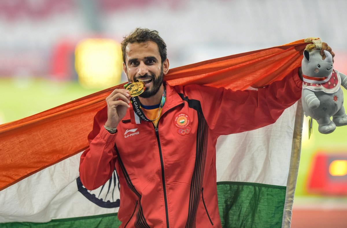 Men's 800m Gold medalist Manjit Singh at the 18th Asian Games Jakarta-Palembang 2018, in Jakarta, Indonesia on Tuesday. (PTI Photo)