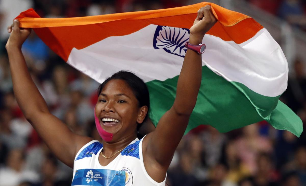 Swapna Barman celebrates after winning Asian Games Gold in the Women's Heptathlon. REUTERS Photo