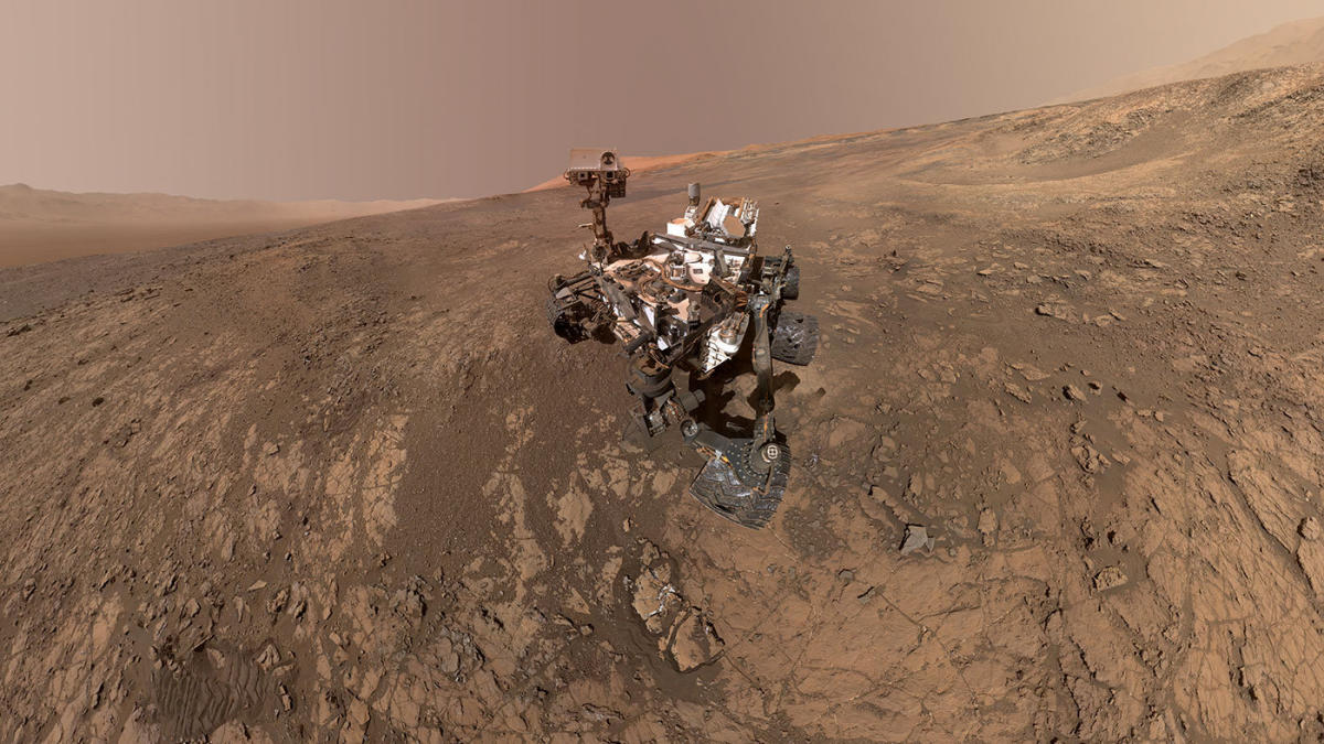 NASA's Curiosity Mars Rover snaps a self-portrait at a site called Vera Rubin Ridge on the Martian surface in February 2018 in this image obtained on June 7, 2018. Courtesy NASA/JPL-Caltech/MSSS/Handout via REUTERS