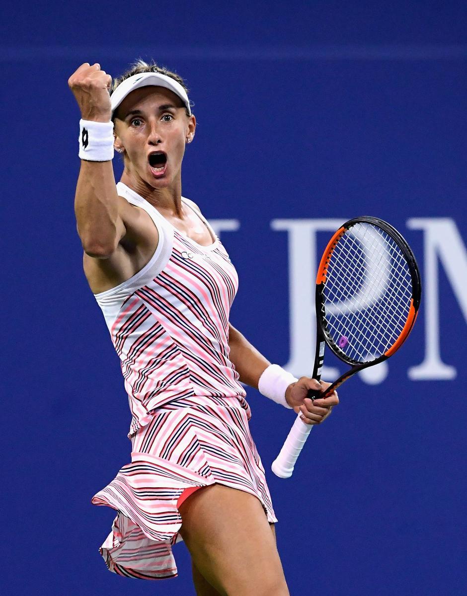 BIG SCALP Lesia Tsurenko of Ukraine celebrates after beating Caroline Wozniaki of Denmark in the second round. AFP