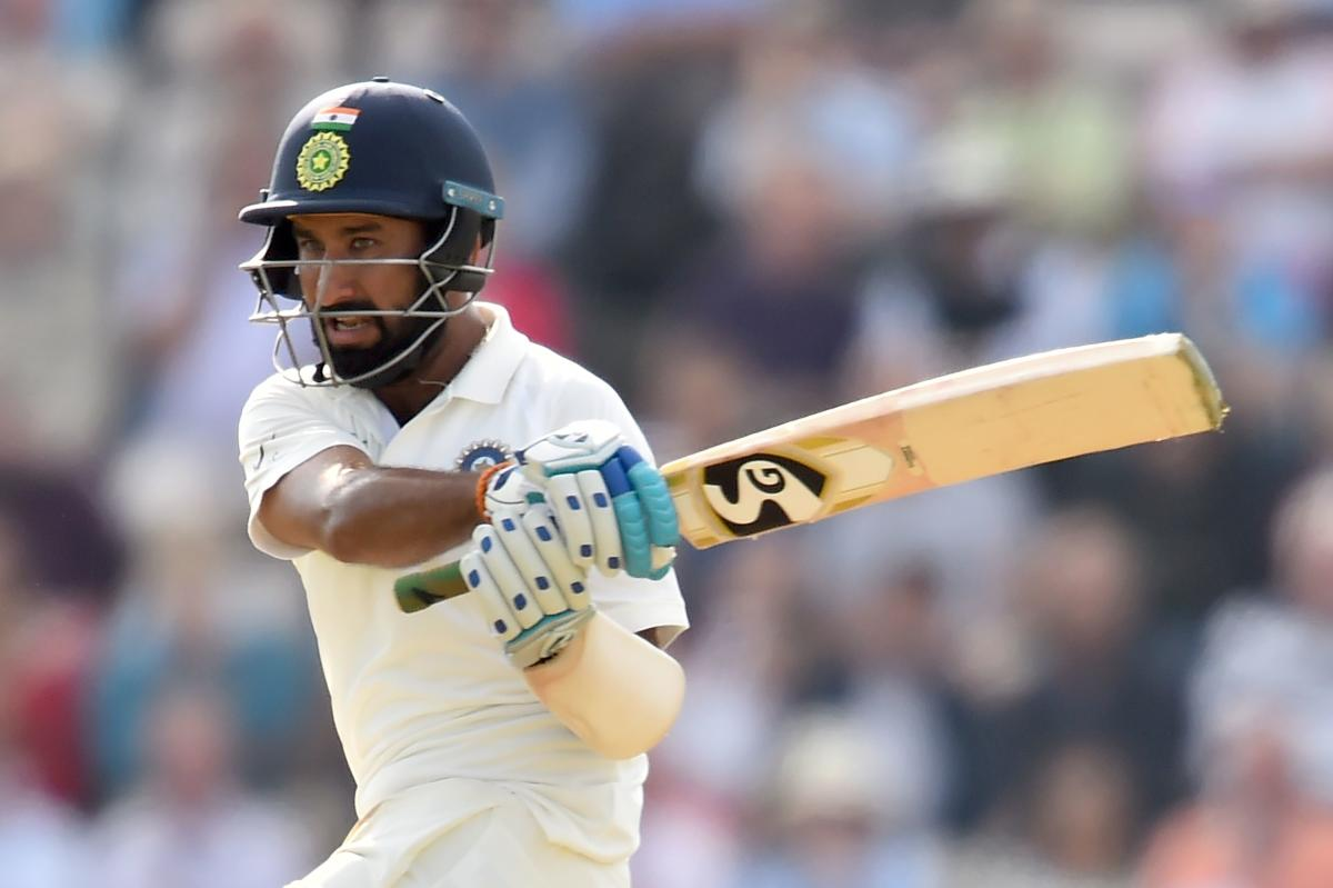 IN REGAL TOUCH: Cheteshwar Pujara en route his unbeaten 132 against England in Southampton on Friday. AFP