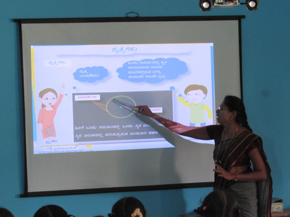 A teacher using e-resources developed by Children's Lovecastle Trust