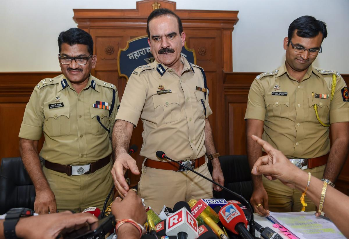 Maharashtra Police ADG (Law and Order) Param Bir Singh, with Pune's Additional CP Shivaji Bodke (L), at a press conference about the house arrest of rights activists in Bhima Koregaon case, in Mumbai on Friday. PTI