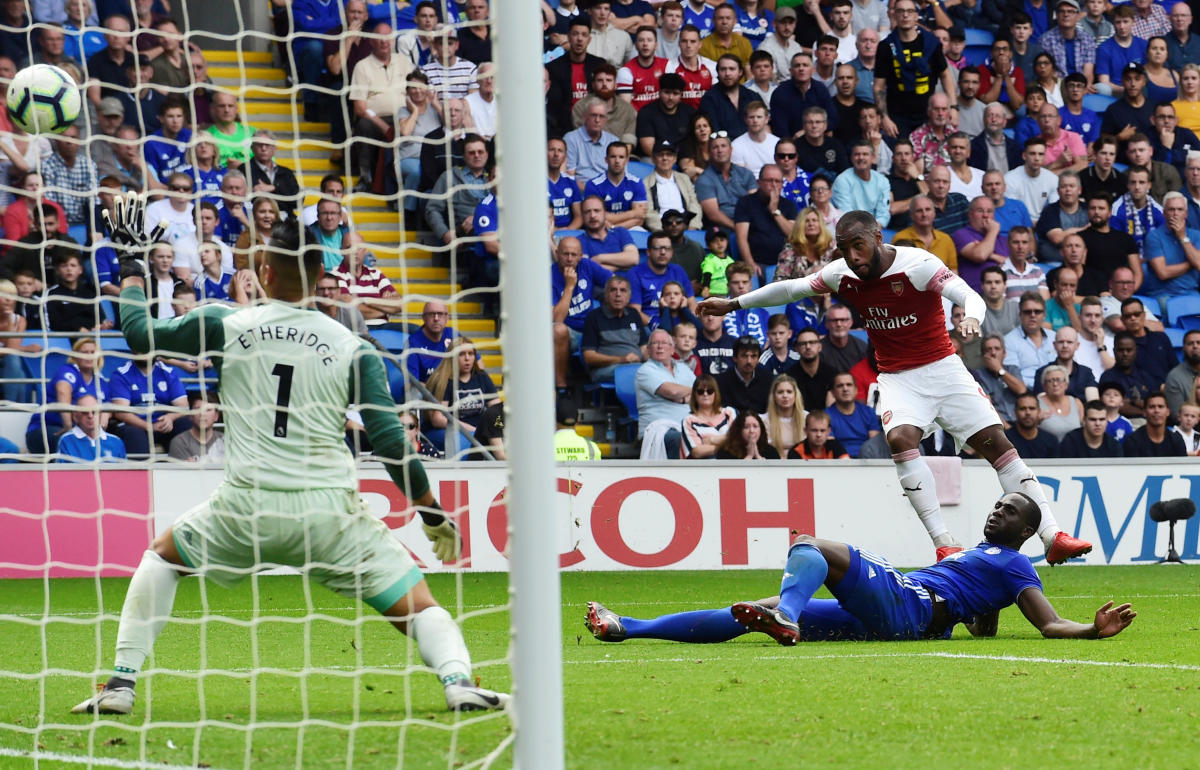 Lethal Arsenal's Alexandre Lacazette scores his team's third goal against Cardiff City on Sunday. REUTERS