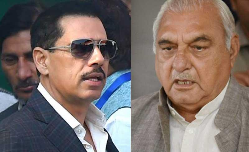 Robert Vadra and Bhupinder Singh Hooda. PTI photos.