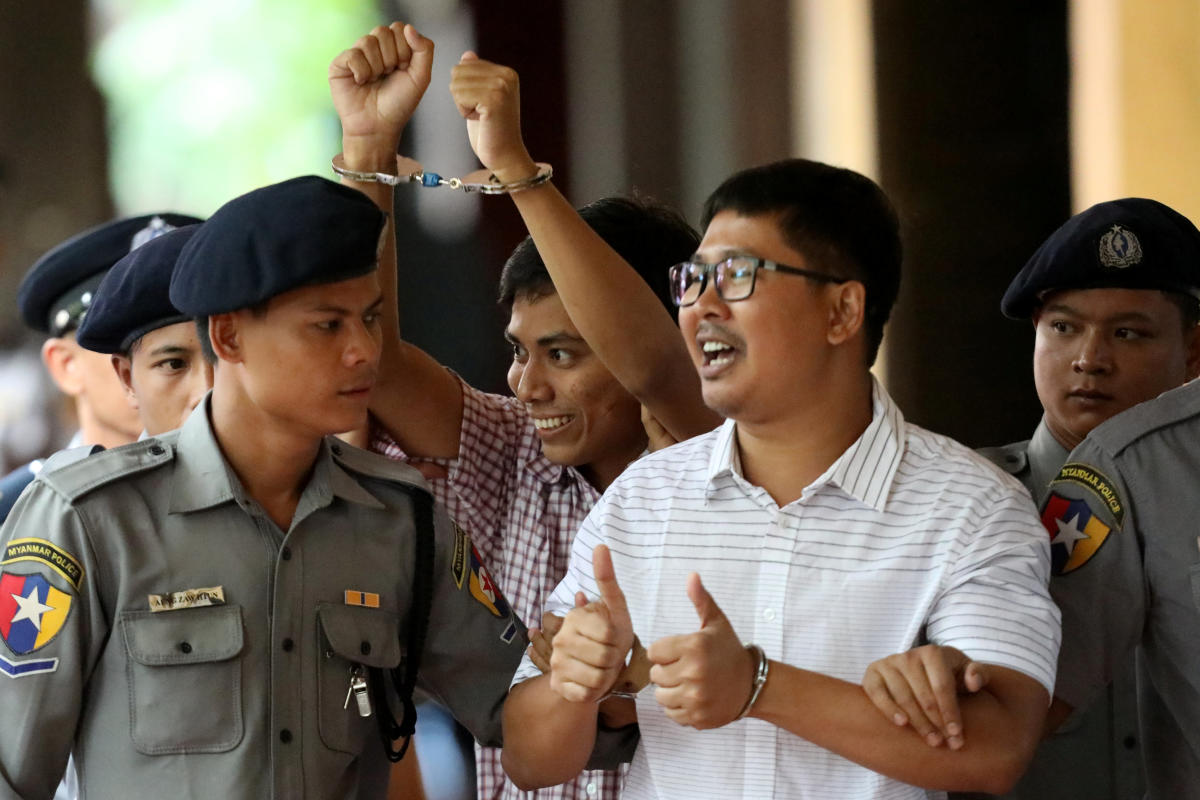 Yangon northern district judge Ye Lwin said that the two Reuters journalist, Wa Lone, 32, and Kyaw Soe Oo, 28, breached the colonial-era Official Secrets Act when they collected and obtained confidential documents. Reuters Photo