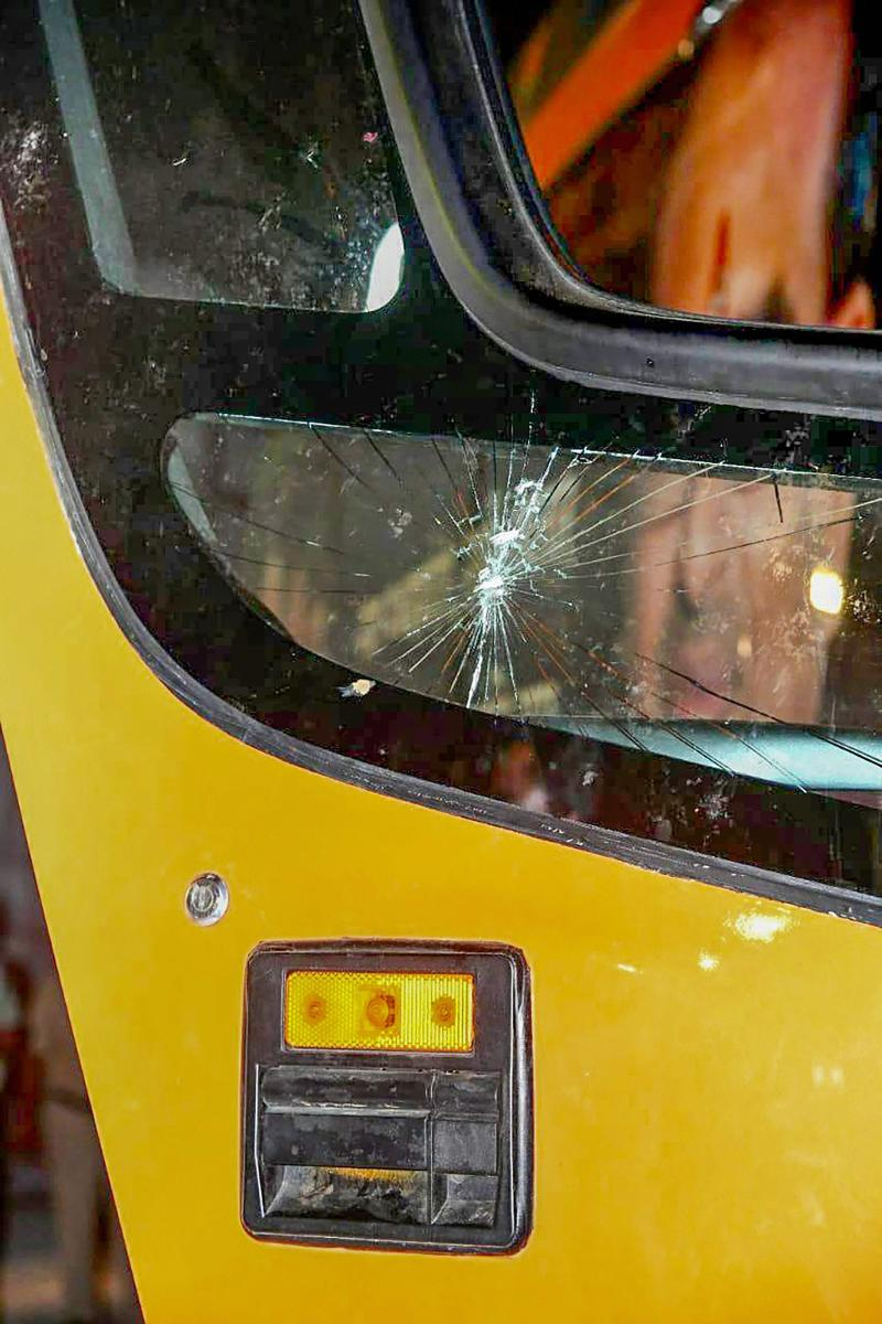 A view of the damaged vehicle in which Madhya Pradesh Chief Minister Shivraj Singh Chouhan was travelling. Miscreants threw stones at the vehicle while Chouhan was on a state tour ahead of Assembly polls, in Sidhi on Sunday. PTI