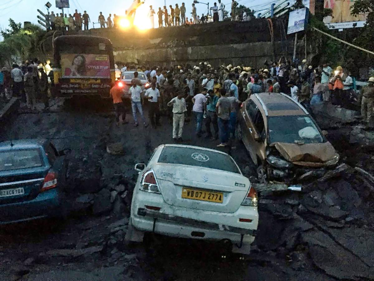 A section of Majerhat bridge collapsed in south Kolkata, Tuesday, Sep 04, 2018. (PTI Photo)