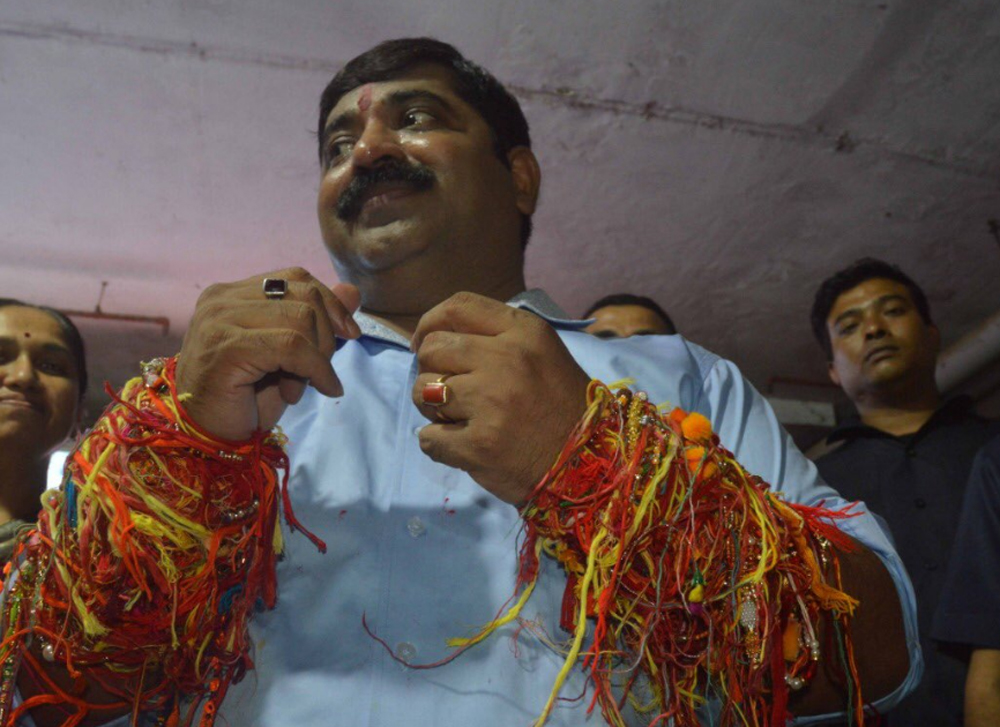 Ram Kadam made the comments at a 'dahi handi' event in his suburban Ghatkopar assembly constituency in Mumbai Monday night. Picture courtesy Twitter