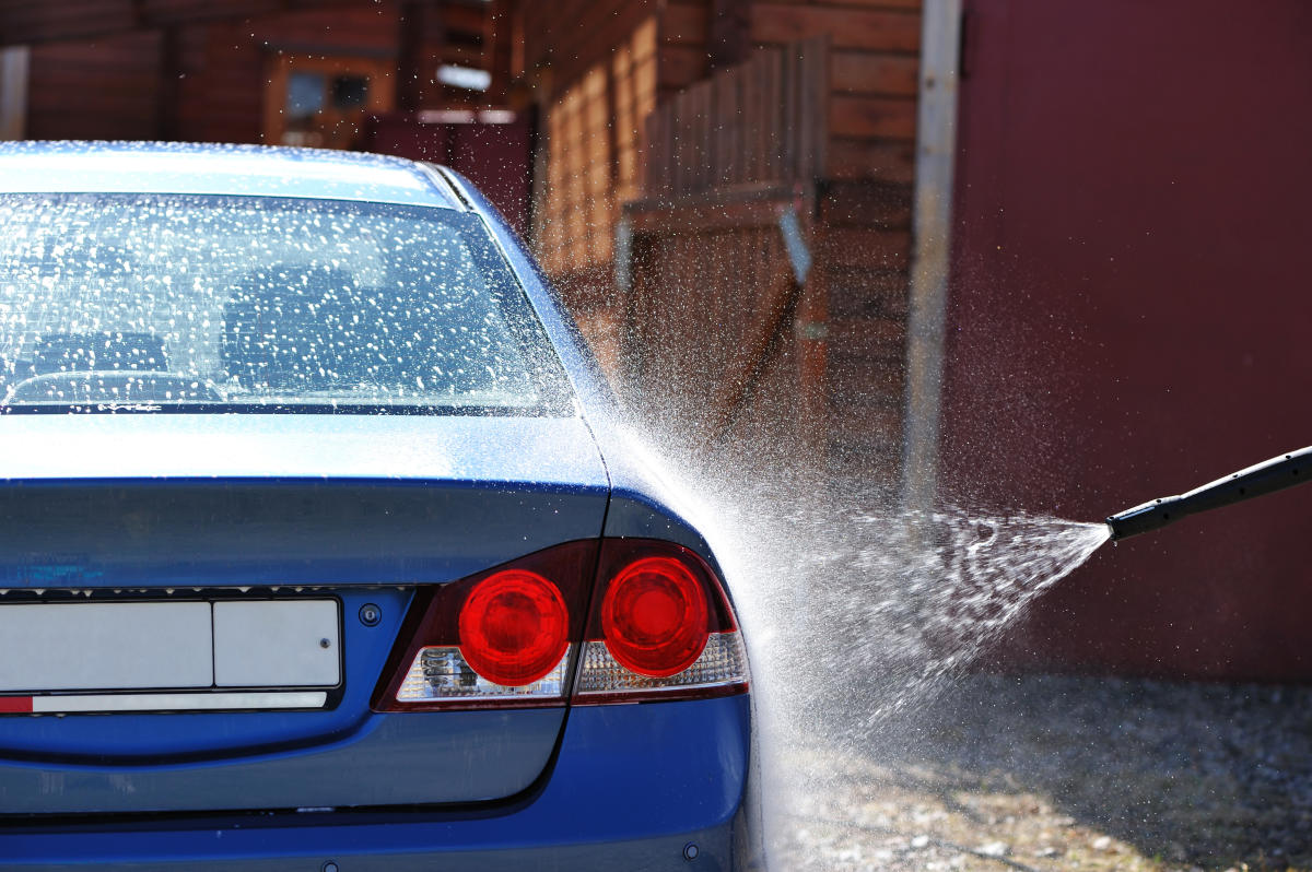 Blue car washing on open aircar care
