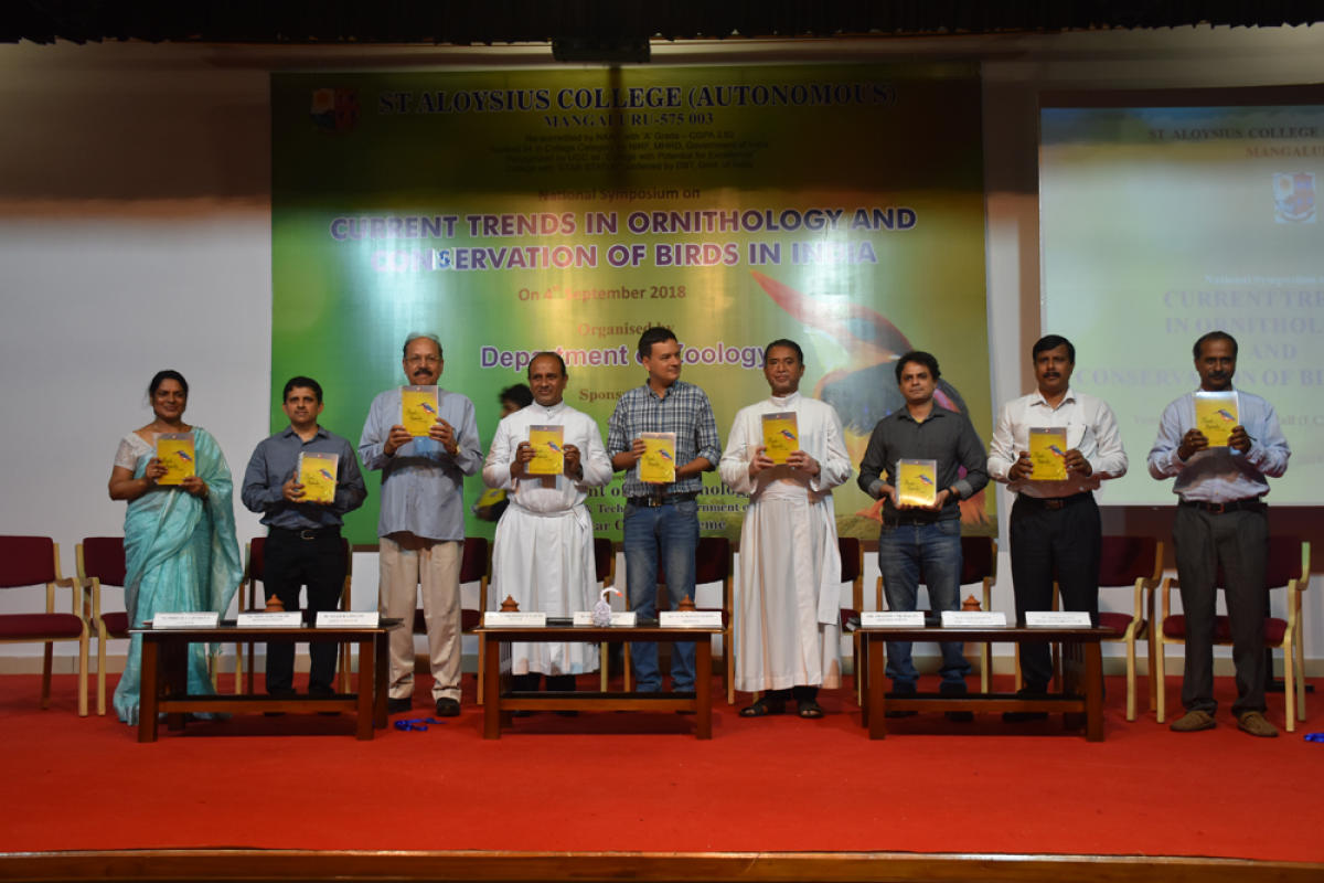 A book 'Butterflies and Birds of the Campus' was released at the inauguration of a national symposium on 'Current Trends in Ornithology and Conservation of Birds in India', sponsored by the Department of Biotechnology, Government of India under the Star College Scheme at St Aloysius College, Mangaluru on Tuesday. St Aloysius Institutions Rector Dionysius Vaz, Principal Fr Pravin Martis, Star College Scheme Coordinator Ronald Nazareth, Department Of Zoology Associate Professor and Head Precilla D'Silva and E