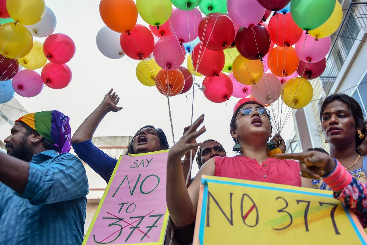 LGBT community members participate in 'National Coming Out Day' to mark the anniversary of High Court's verdict amending Section 377, in Chennai on Monday, July 02, 2018. (PTI Photo)