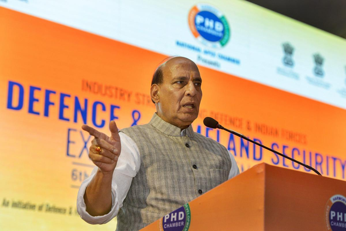 Home Minister Rajnath Singh speaks during 'Defence & Homeland Security Expo and Conference', in New Delhi on Thursday, Sept 6, 2018. (PTI Photo)