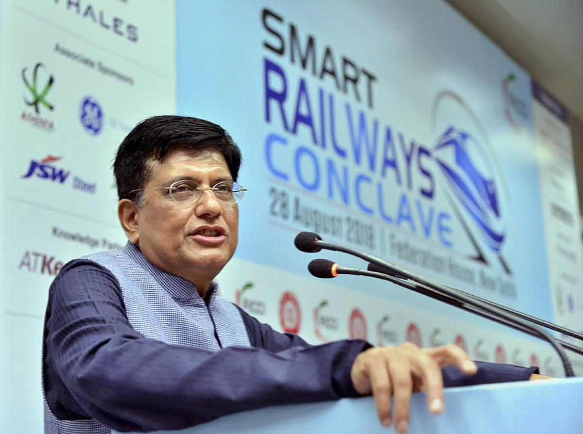 Railways Minister Piyush Goyal addresses the 2nd edition of Smart Railways Conclave at FICCI in New Delhi on Tuesday, Aug 28, 2018. (PTI Photo)