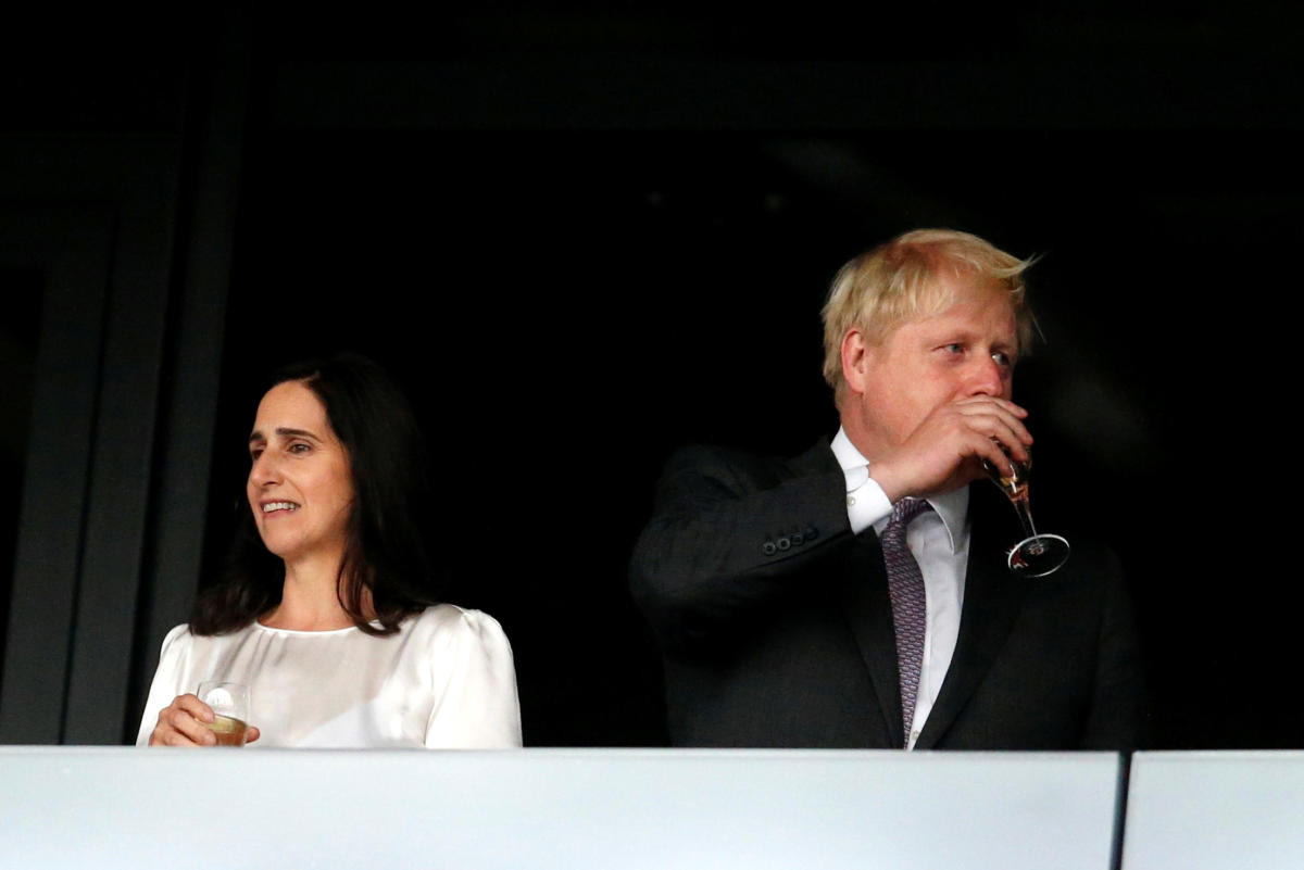 Former British foreign secretary Boris Johnson and his wife Marina Wheeler in happier times during the 2012 London Olympics opening ceremony.