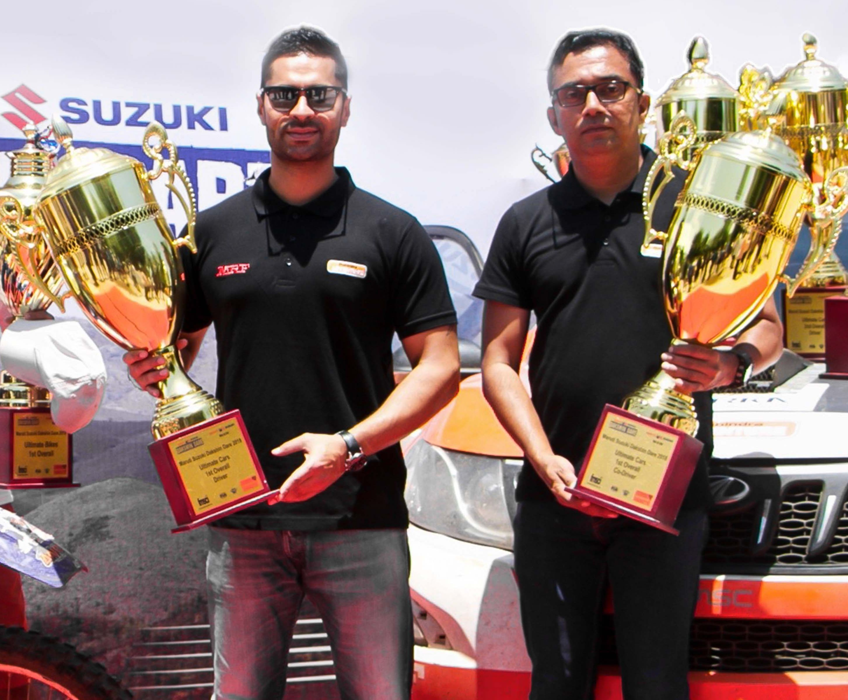 CHAMPIONS Team Mahindra Adventure racer Gaurav Gill (left) and his navigator Musa Sherif with their trophies after clinching the Dakshin Dare Rally in Goa on Saturday.