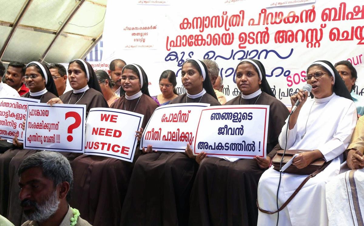 Nuns protest against the delay in action against the Roman Catholic Church Bishop, who is accused of sexually exploiting a nun, in Kochi on Saturday. PTI