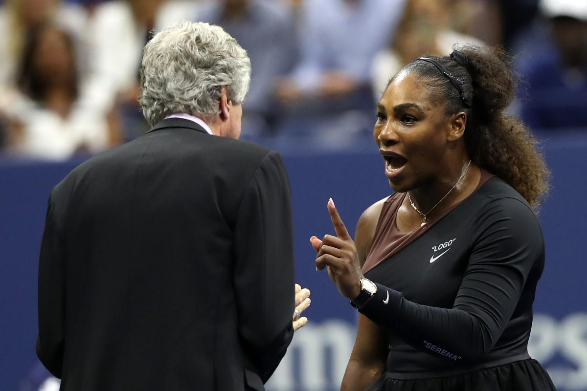 Serena Williams of the United States argues with referee Brian Earley during her Women's Singles finals match against Naomi Osaka of Japan on Day Thirteen of the 2018 US Open at the USTA Billie Jean King National Tennis Center. AFP photo