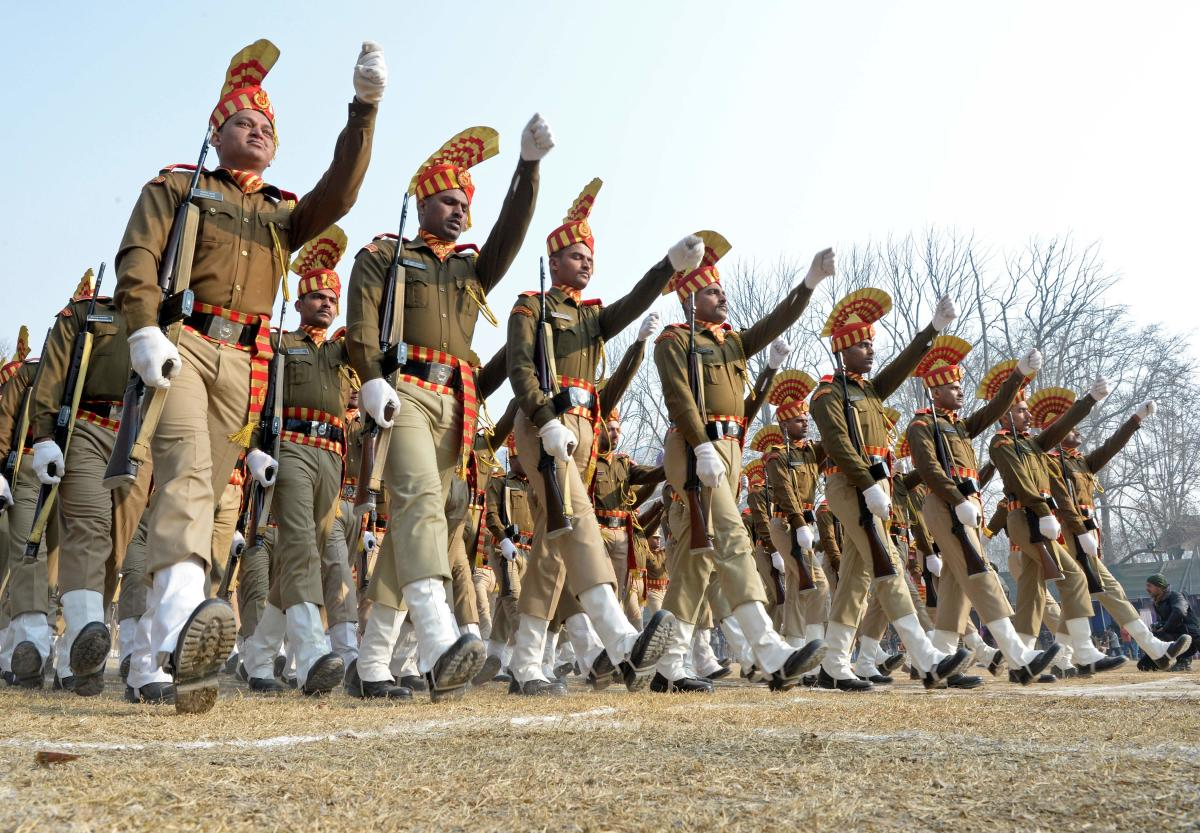 Indian Central Reserve Police Force (CRPF) personnel take part in a Republic Day parade in Srinagar on January 26, 2018. India is marking its 69th Republic Day. File photo. (AFP/ TAUSEEF MUSTAFA)