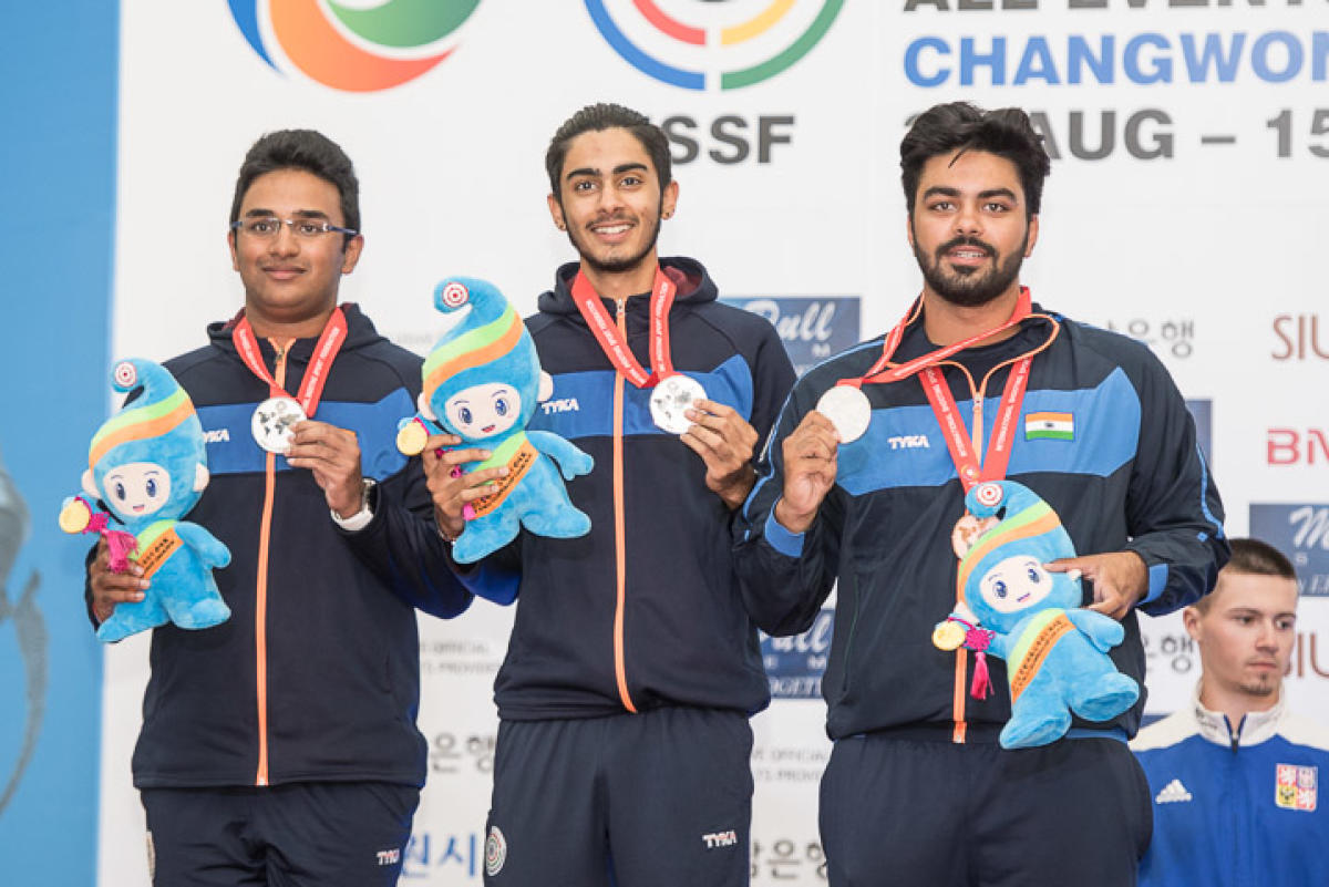 The Indian junior skeet team won the silver in the World Championships in Changwon, South Korea, on Tuesday. Photo: ISSF