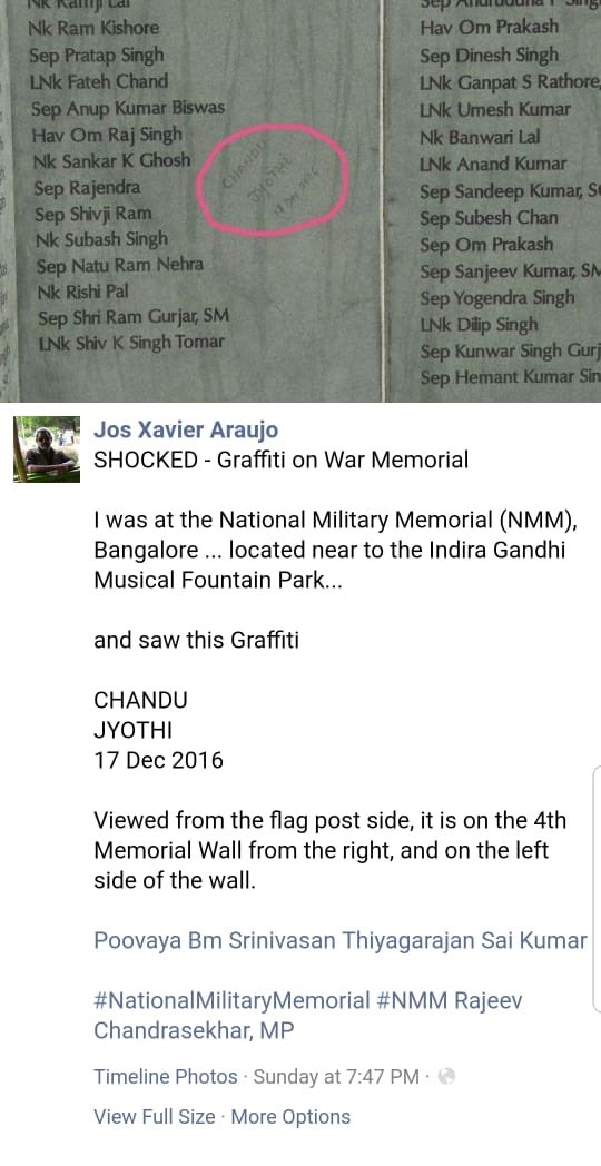 The scribble on the stone slab of the National Military Memorial in Bengaluru.