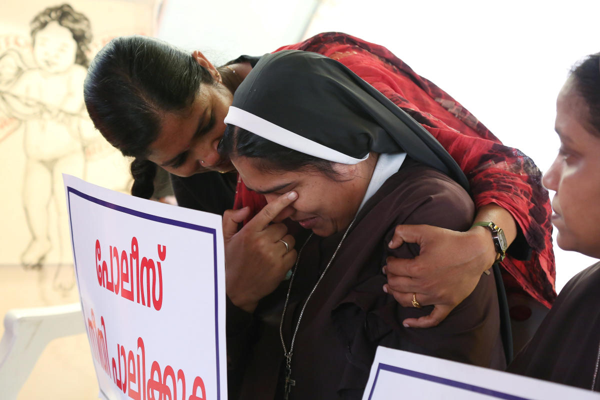 A woman consoles a nun during a protest demanding justice to an nun allegedly raped by a bishop, in Kochi on September 13, 2018. (Reuters File Pic)