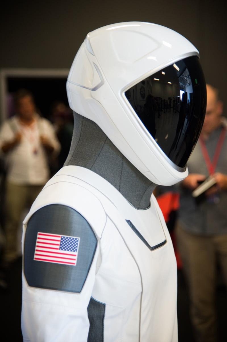 The SpaceX spacesuit for Nasa astronauts who will travel to the International Space Station aboard the SpaceX Crew Dragon capsule is displayed during a media tour at SpaceX headquarters in Hawthorne, California, on August 13, 2018. AFP