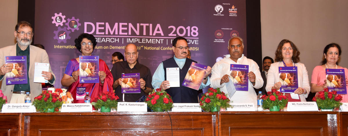 (L-R) Ajit Bhide, president, Indian Psychiatric Society; Meera Pattabiraman, chairperson, Alzheimer's and Related Disorders Society of India; K Kasturirangan, former chairman, ISRO; Union Minister for Health and Family Welfare J P Nadda; state Health Minister Shivanand Patil; Paola Barbarino, CEO, Alzheimer's Disease International; and Radha S Murthy, vice-chairperson, ARDSI, at an international seminar on dementia in Bengaluru on Friday. (DH PHOTO/B H Shivakumar)