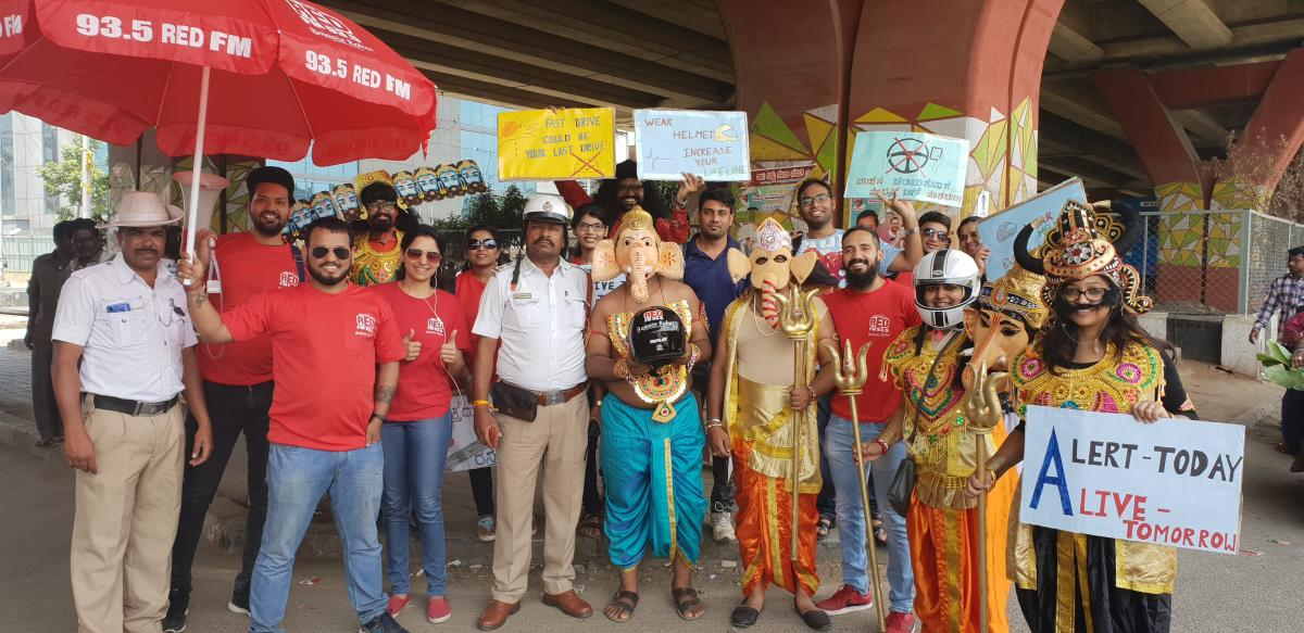 The Red FM 93.5 team joined hands with the traffic police to get 'Lord Ganesha' to spread the importance of helmets.