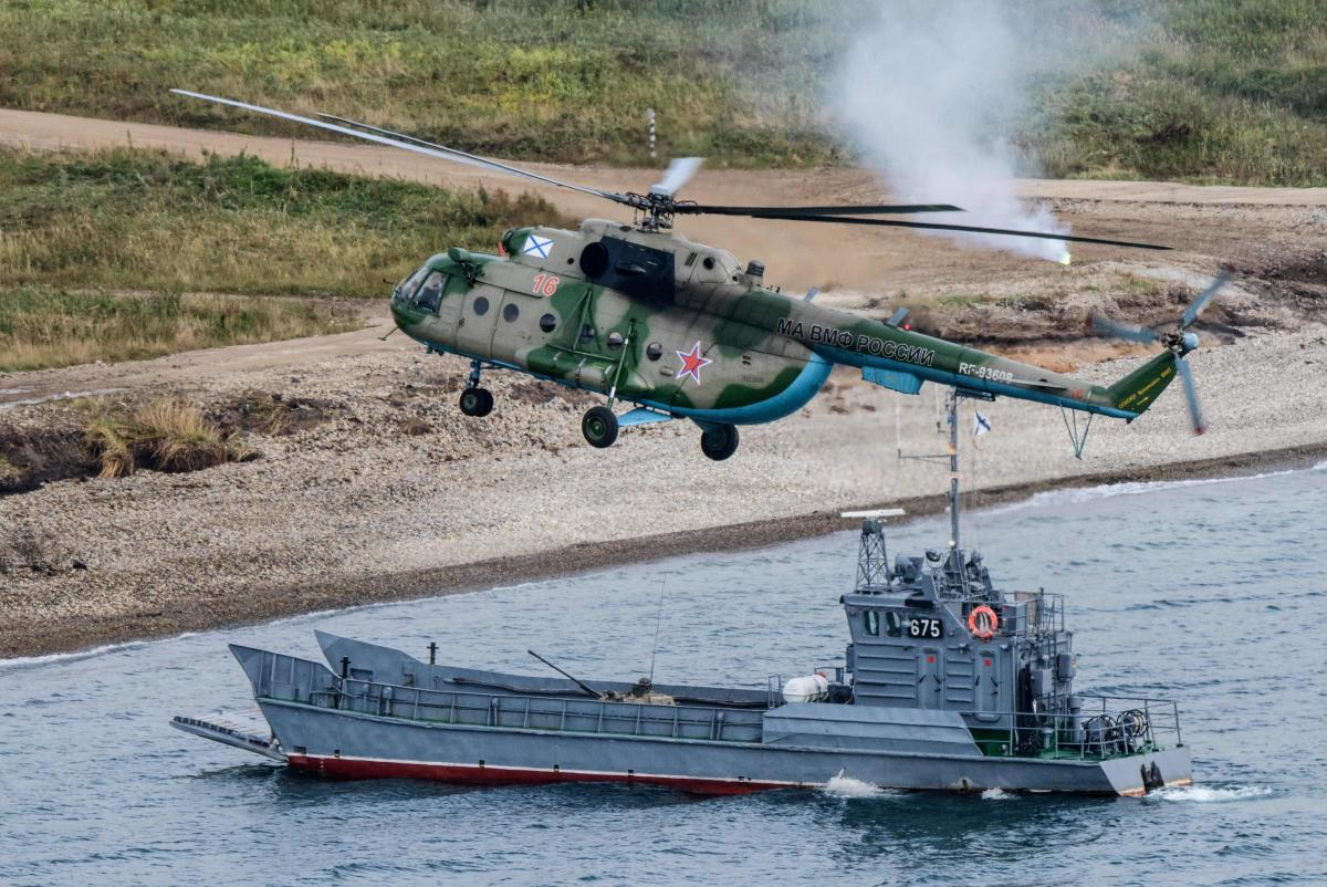 Russian military forces perform a landing during the Vostok-2018 (East-2018) military drills at Klerka training ground on the Sea of Japan coast, outside the town of Slavyanka, some 100km south of Vladivostok, on September 15, 2018. AFP
