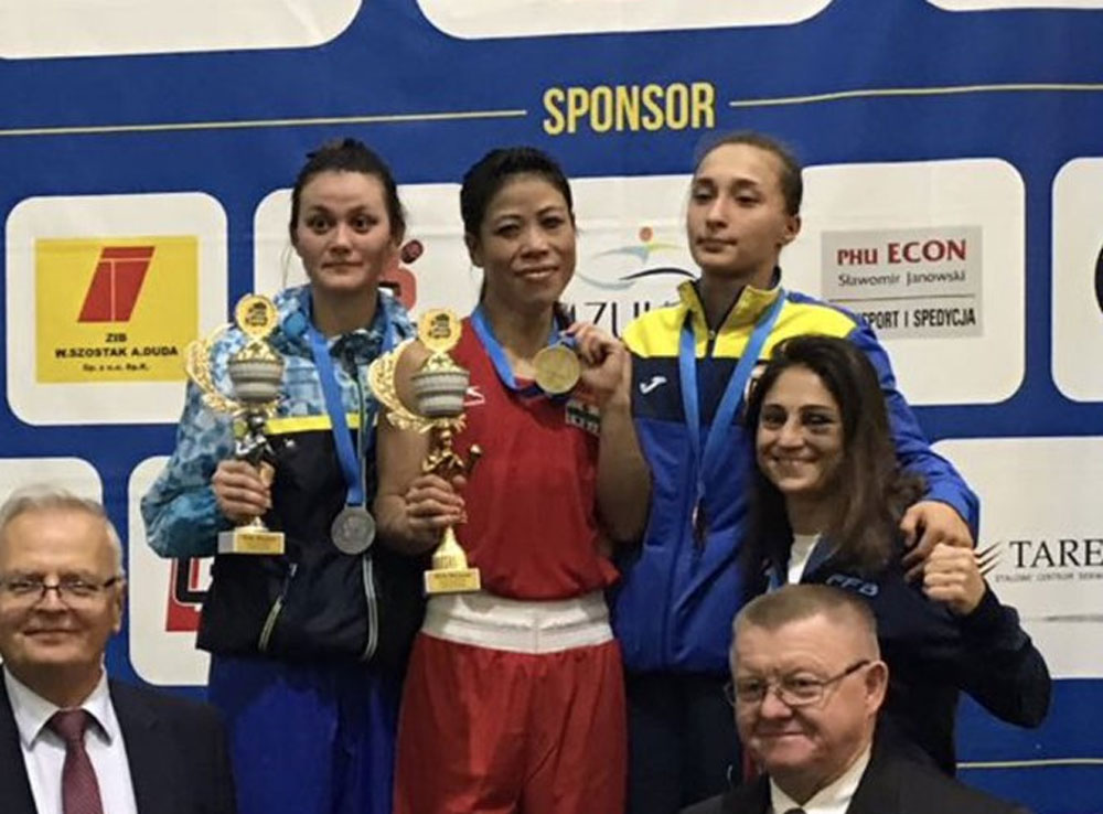 Mary Kom after winning the gold. Photo: Twitter/Mary Kom