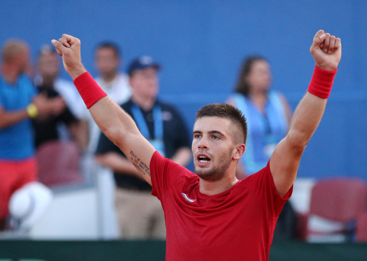 TOP GUN: Croatia's Borna Coric celebrates after beating Frances Tiafoe of the US in the tie decider on Sunday. REUTERS