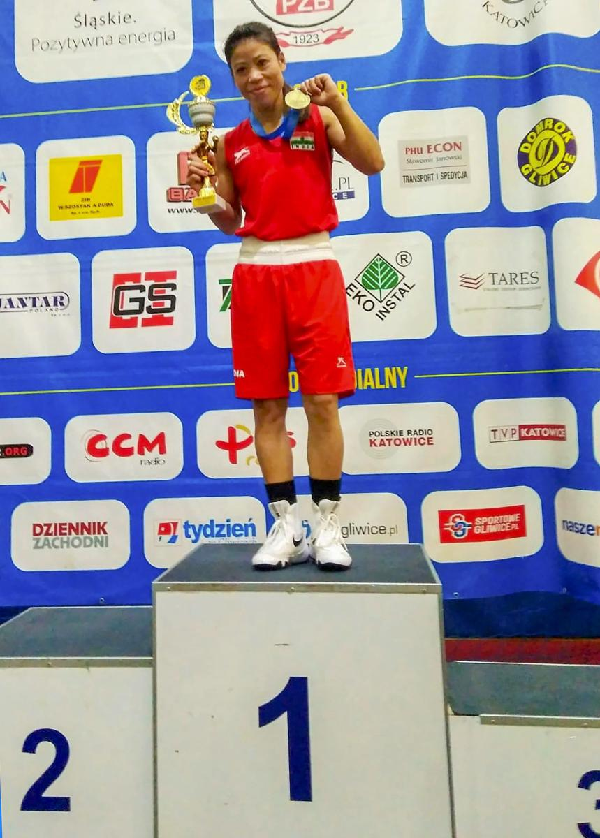 Mary Kom with her gold medal in Gliwice, Poland, on Sunday. PTI