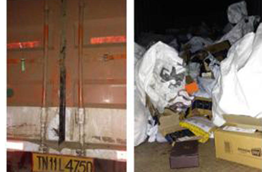 Photos showing a truck that was robbed. Credit: Harish Bhardwaj, general manager, operations, STC Logistics