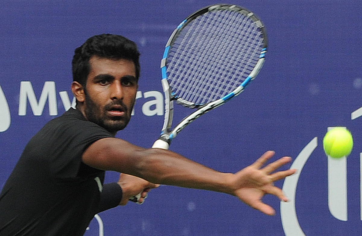 Prajnesh Gunneswaran won his maiden singles ATP Challenger title after beating Egypt's Mohammed Safwat in Anningon Sunday. DH File Photo