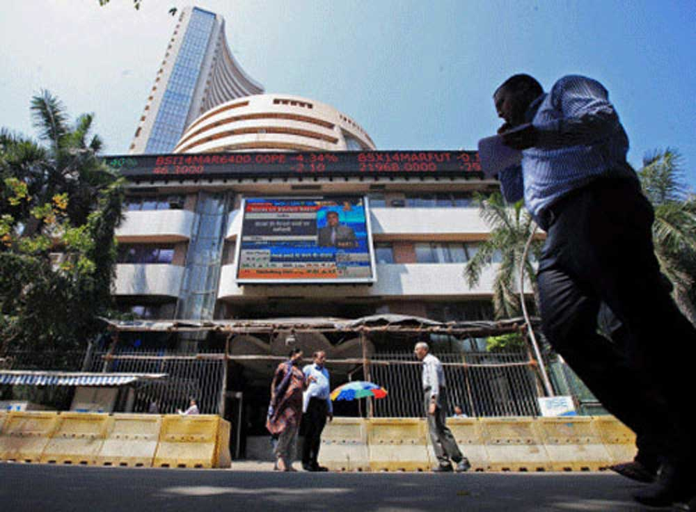 The 30-share BSE Sensex shed 63 points to end at 34,331.68, while the broader NSE Nifty finished 22.50 points lower at 10,526.20.