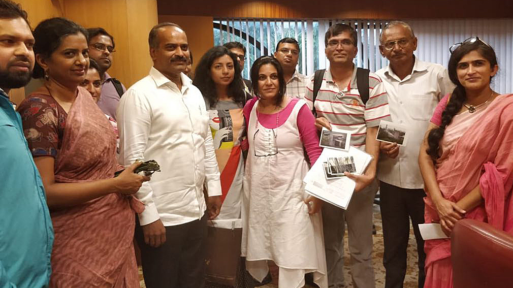 Bangalore Central MP P C Mohan with the Whitefield Rising team in Bengaluru on Tuesday.