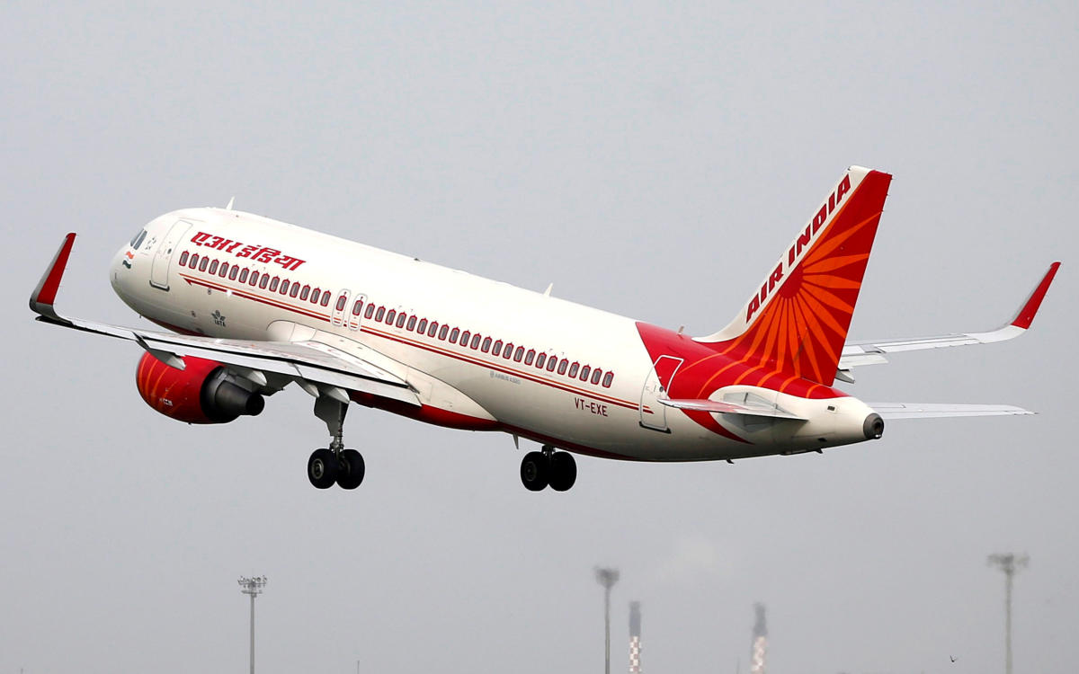 FILE PHOTO: An Air India aircraft takes off from the Sardar Vallabhbhai Patel International Airport in Ahmedabad, India, July 7, 2017. REUTERS/Amit Dave/File Photo