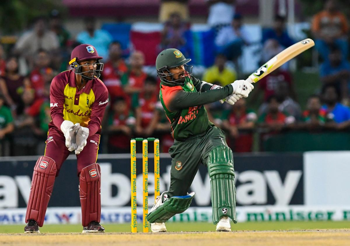 Bangladesh batsman Liton Das sends one over the fence in the third T20I against West Indies in Lauderdale, Florida, on Sunday. AFP
